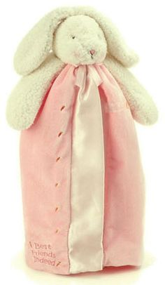 An oh-so-sweet bunny buddy blanket from Bunnies by the Bay. Baby will just love this plush, floppy eared bunny with a snuggly velour blanket lined and edged in silky satin. Her blanket coat is embroidered with the message: best friends indeed, and has sweet carrots along one edge. A beautiful quality comfort blanket you will love to give and receive. $35