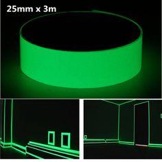 25mm x 3m Photoluminescent Tape Glow In The Dark Egress Safety Mark Bright Green at Banggood