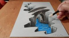 How to Draw Bridge - Drawing Bridge - Trick Art 3d Pencil Drawings, 3d Art Drawing, Cool Drawings, Painting & Drawing, Paper Drawing, Drawing Tips, Drawing Ideas, Illusion Drawings, Illusion Art