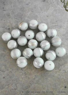 White 14mm Silver Striped Glass Beads                                          CC-80404