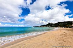 Stunning Beaches of the World: Grand Anse Beach, Grenada  Two miles of white sand stretch out before you. An endless ocean of beauty reaches out with foam tipped waves to meet the beach. With such possibilities, it's obvious why Grand Anse Beach is one of the most popular beaches in Grenada. barretttravel.globaltravel.com pamelabarrett22@gmail.com