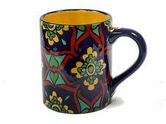 Cobalt Blue Red & Yellow Talavera Style Mug/Coffee by TheTikiQueen