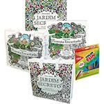 Livros para Colorir Adulto - Jardim Secreto + Floresta Encantada + Sacola Jardim Secreto/Floresta Encantada + Lápis Cor Tris Color Fun 24 Cores - Tris
