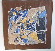 Jeanne-Lanvin-Design-Castillo-Vintage-100-Silk-Scarf-50s-color-abstract-paint