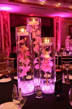 Pink Orchid Centerpiece Pink Vases with Crystals, Lights, Orchids & Floating Candles Centerpiece