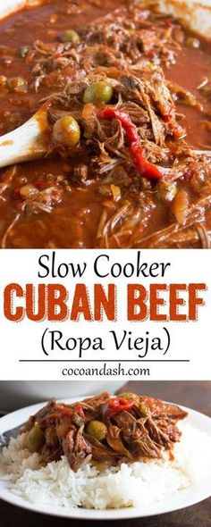 Ropa Vieja is a Cuban shredded beef slow simmered with so much flavor! It doesn&… Ropa Vieja is a Cuban shredded beef slow simmered with so much flavor! It doesn't get any easier than this slow cooker version! Crock Pot Recipes, Slow Cooker Recipes, Cooking Recipes, Casserole Recipes, Crock Pots, Slow Cooker Meals Healthy, Cooking Tips, Cookbook Recipes, Cuban Dishes