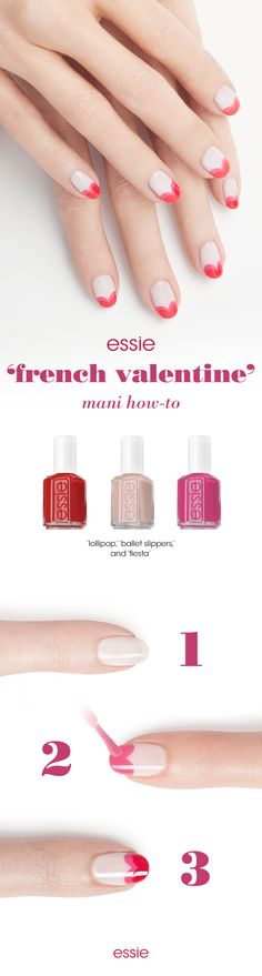 Je t'aime - say oui to this Valentine french manicure. Get the look: First apply two coats of pale pink 'ballet slippers' across your nail and let dry. Next, apply a coat of bright pink 'fiesta' to the top half of the nail, closest to the tip, in the shape of two circles like the top of the heart. With a shade like 'lollipop', follow the same lines as 'fiesta', to create gradient double hearts. Seal all colors with an essie top coat - polished perfection for Valentine's Day!