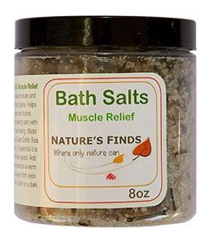 Bath Salts Muscle Relief. Natural Organic Sea Salt with Essential Oils for Health and Beauty. 8oz. Quality Aromatherapy Ingredients. Therapeutic for Home Use. Relax, Detox in Tub or Spa. Moisturizing. Perfect Gift. Guaranteed Pure by Nature's Finds Nature's Finds http://www.amazon.com/dp/B00L2ROVP0/ref=cm_sw_r_pi_dp_onMbvb0T3JVW3