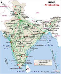 Airports and air route map of India