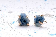 Love: Handmade Ethical Rough Sapphire Slice Stud Earrings with Recycled 14kt Yellow Gold.