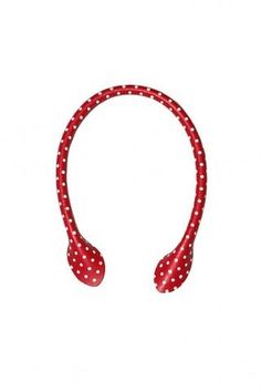 "Red & White Polka Dot Leather Bag Handles - 12"" 30cm - too cute ! I just got these!"