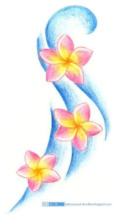 Tattoos and doodles: plumeria / frangipani flowers hibiscus tattoo, plumeria flower tattoos, tattoo Tropical Flowers, Tropical Flower Tattoos, Plumeria Flowers, Colorful Flowers, Water Flowers, Frangipani Tattoo, Tigh Tattoo, Hawaiianisches Tattoo, Pencil Drawings