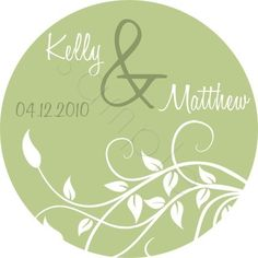 Elegant Leafy Vine Wedding design.  Personalized stickers by partyINK