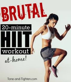 Brutal 20-minute HIIT workout on Tone-and-Tighten.com - this is the most intense at-home workout I have done!