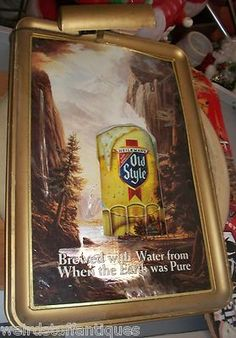 vintage Old Style plastic lighted beer sign waterfall