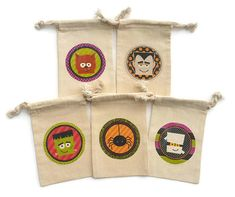 Halloween Monsters Muslin 4X6 Party Favor Goody by HodgePodgeNC