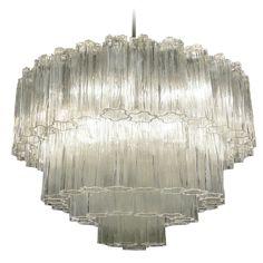 Vintage Venini Murano 4 Tier Glass Chandelier