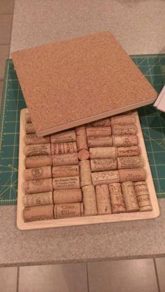Wine Cork Trivet using board from Michael's, wine corks, and cork sheet for the bottom of trivet