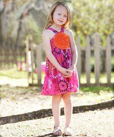 Fuchsia Paisley Blooming Rose Dress - Toddler & Girls