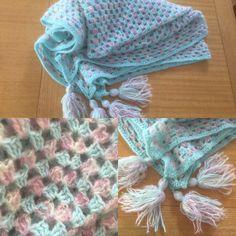 crochet, granny square, mohair blend, knee rug, own design 2004