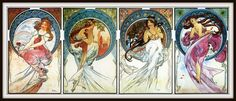 """Alfons Mucha Art Nouveau """"The Four Arts""""  Painting - Poetry - Music - Dance Grouping 1898-  Giclee Art Print on Etsy, $25.00"""