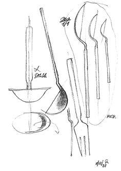 """Achille Castiglioni/Sketch for """"Dry"""" cutlery set, 1982/Alessi"""