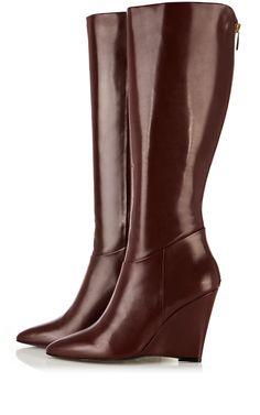 Red Pointy knee wedge boot by Karen Millen
