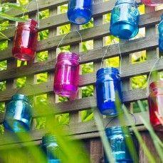 colored glass jars
