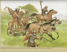 Belgic chariot and horseman attacking Roman legionaries during Caesar's expedition to Britain, 54BCE. Art by Angus McBride