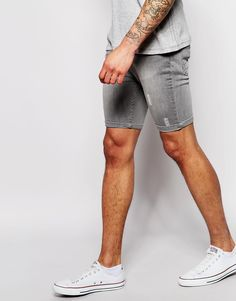 $31, Grey Denim Shorts: Brave Soul Distressed Denim Shorts. Sold by Asos. Click for more info: https://lookastic.com/men/shop_items/216880/redirect
