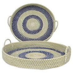 Perfect as a catch-all atop the entryway console or for serving delicious hors d'oeuvres at your next soiree, this cosmopolitan tray set is crafted of seagra. Rope Basket, Basket Bag, Basket Weaving, Rope Decor, Tray Decor, Pine Needle Baskets, Fabric Bowls, Rope Crafts, Clothes Line