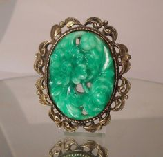 """PENDANT Gorgeous Vintage Floral Scroll Carved Green Jade Pin Pendant 2"""" #Pendant"""