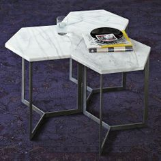 marble hex tables. separate or group together as coffee table