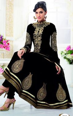 #Black embroidered georgette semi stitched #salwar with dupatta. #Valentine #Love #giftidea #gift #idea - http://bit.ly/1PTGf3C