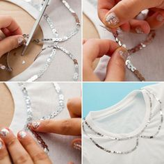 How to Bling Out a Basic Tee — No Sewing Machine Required! via Brit + Co., How to Bling Out a Basic Tee — No Sewing Machine Required! How to Bling Out a Basic Tee — No Sewing Machine Required! via Brit + Co. Sewing Hacks, Sewing Projects, Sewing Shirts, Beading Tools, Diy Vetement, Techniques Couture, Diy Fashion, Fashion Design, Fashion Fall