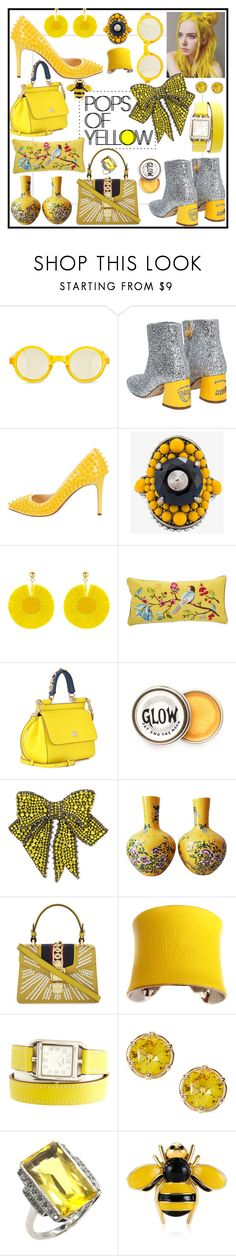 """Pops Of Yellow"" by beneath-the-mystic-moon ❤ liked on Polyvore featuring Sunpocket, Chiara Ferragni, Christian Louboutin, Gucci, Oscar de la Renta, PiP Studio, Dolce&Gabbana, UNEARTHED, Hermès and PopsOfYellow"