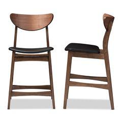 Baxton Studio Latina Mid-century Retro Modern Scandinavian Style Black Faux Leather Upholstered Walnut Wood Finishing 24-Inches Counter Stool | Interior Express