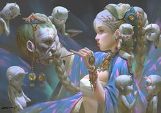 Zeen chin -- A witch putting incantation on a dead head. -- love this use of purple here