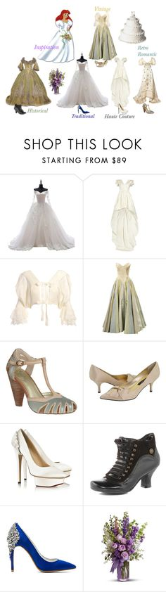 """""""Ariel's Wedding Gown"""" by verysmallgoddess ❤ liked on Polyvore featuring Disney, Alexander McQueen, Seychelles, Nina, Charlotte Olympia, Dorothy Perkins, Jeffrey Campbell, GetTheLook, disney and thelittlemermaid"""
