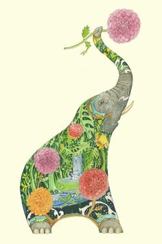 Elephant Squirting Water - Card - The DM Collection Elephant Face, Elephant Trunk, World Mythology, Japanese Prints, Arts And Crafts Movement, Illustrations, Greeting Cards, Creatures, Drawings