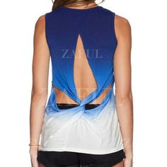 Blue white ombre open back muscle tank Beautiful blue to white ombre muscle tank with open knotted back. New with tags. Size Asian xxl but fits a large or xl or small med if you want a loose style. So perfect for summer! Tops Tank Tops