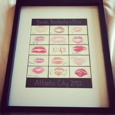 "Because bff wants this - ""Frame a kiss from all your girls! A must for your bachelorette party!!"""