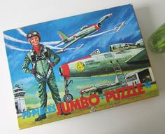 Vintage Children's Puzzle with a Pilot and Planes at an Airport made by Jumbo Holland 60s door Vantoen op Etsy