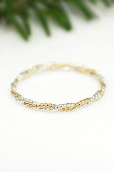 Sterling Silver and Gold Ring Twist Ring