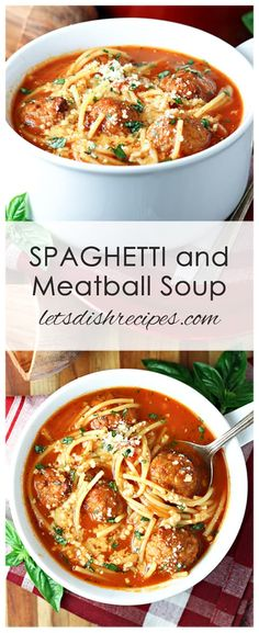 Spaghetti and Meatball Soup Spaghetti and Meatball Soup Recipe: Spaghetti and meatballs get a fun twist in this hearty, beef and pasta filled soup. A favorite with both kids and adults! Beef Soup Recipes, Healthy Soup Recipes, Ground Beef Recipes, Dinner Recipes, Cooking Recipes, Meatball Recipes, Easy Recipes, Chicken Recipes, Spaghetti Soup