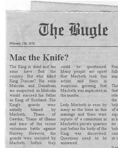 Macbeth newspaper project