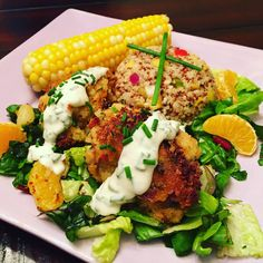 Potato Croquettes with Buttermilk-Chive Sauce, Corn on the Cob, Tropical Quinoa and Red Chard & Romaine Mandarin Salad