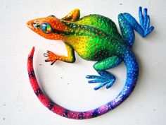 Items similar to Gecko art sculpture wall decor on Etsy Polymer Clay Sculptures, Sculpture Clay, Turtle Painting, Dot Painting, Ceramic Animals, Clay Animals, Aboriginal Dot Art, Salamander, Southwestern Art