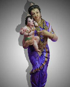 Ganesh with his Mother Parvati Jai Ganesh, Ganesh Idol, Shree Ganesh, Ganesha Art, Lord Ganesha, Lord Shiva, Ganesha Painting, Durga Maa, Shiva Shakti