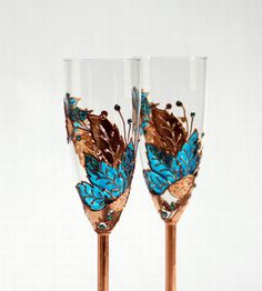 Champagne Toasting Flutes Copper and Turquoise by NevenaArtGlass, $54.90 on etsy